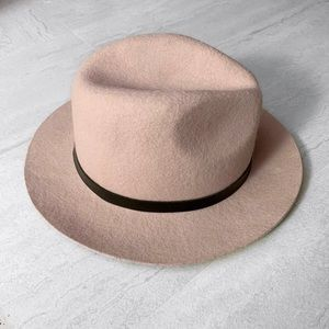 Nude Pink Fedora Hat with Black Band